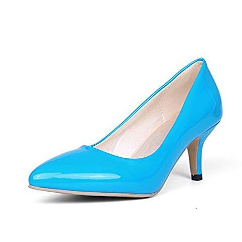 BalaMasa Womens Pointed-Toe Pull-On Slip-Resistant Blue Patent-Leather Pumps-Shoes - 7 UK