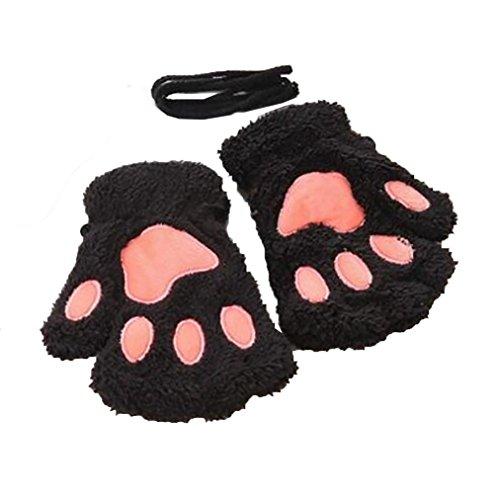Harlem H Damen Mädchen süße Katze Kralle Bärenkralle fingerlose Handschuhe Winter Halbfingerhandschuhe (Krallen Katze Kostüm)