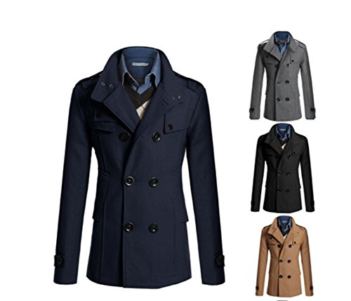 Junsi Men' s Jacket Wool invernale Coat Double Breasted doppiopetto cotone Casual Lapel Revers Slim sottile caldo Overcoat testa piatta Color Navy taglia L