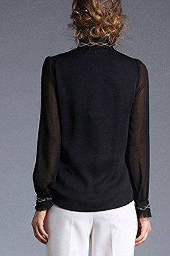 Lose Chiffon Langarm Damen Tasten Up Bluse Black