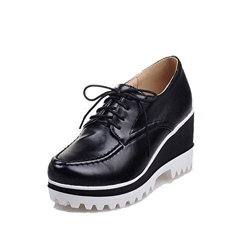 AgooLar Femme Pu Cuir à Talon Haut Rond Lacet Chaussures Légeres Noir