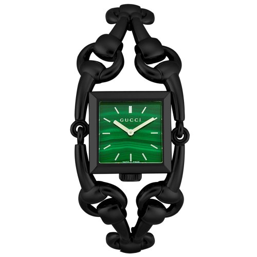 Gucci Signoria 116 Black PVD Womens Swiss Fashion Watch Green Dial YA116312