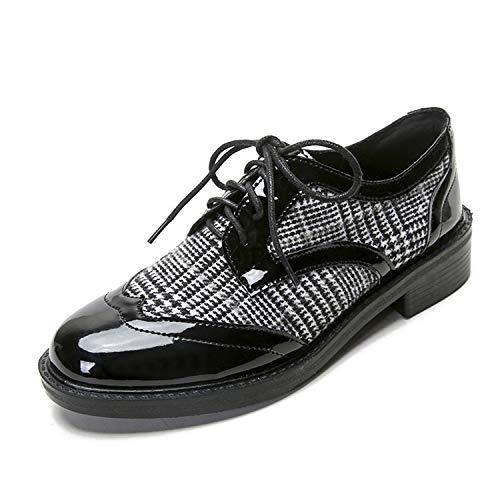 Sneerrt Zapatos Oxford Cuero Cruzado Cuadros Zapatos