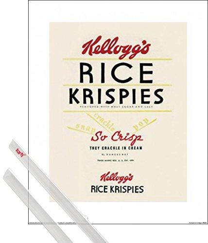 1art1 Kunstdruck + Hanger: Marken Kunstdruck (40x30 cm) Kellogg's Rice Krispies Inklusive EIN Paar Posterleisten, Transparent