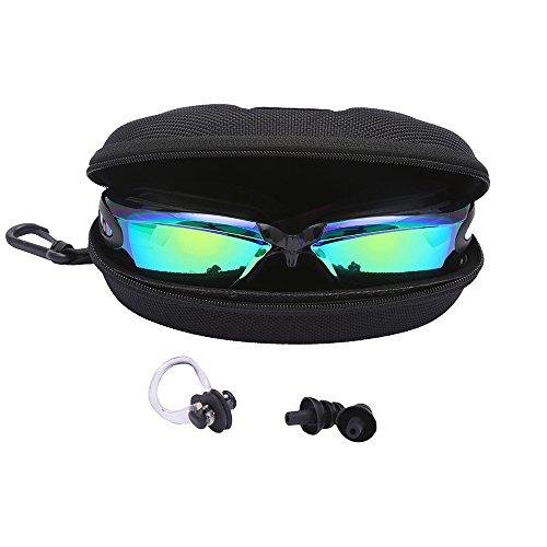 b40c6ac351 Bezzee-Pro gafas de nado con estuche de protección y tapones de oídos  gratis recomendadas para adultos – Protección UV- Lentes espejo, color -  anti-niebla y ...