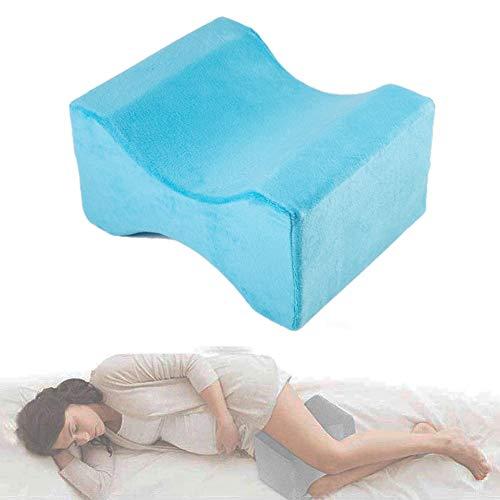 HIMAmonkey Kniegelenkkissen Seitenschläferkissen für Ischiasentlastung, Bestes für Unteres Hinteres, Bein und Knie Schmerz- Gedächtnis-Schaum-Keil-Kontur-Bein-Kissen Mit Entfernbarer Abdeckung,blue2 -