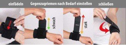 TURBO Med Handgelenkbandage mit Spannriemen bei Überlastung Sehnenscheidenentzündung Arthrose SCHWARZ TM850-9
