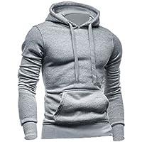 Sourcingmap Men Kangaroo Pocket Front Soft Lined Long Sleeve Drawstring Hoodies
