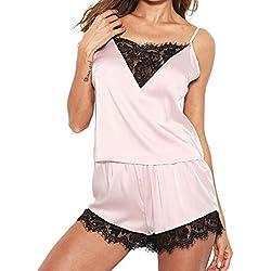2018 Heligen Frauen Jumpsuit Sommer Lang Elegant Nachtwäsche Sleeveless Strap Nachtwäsche Lace Trim Satin Top Pyjama Sets Zweiteiliger Anzug Shorts aus Spitze
