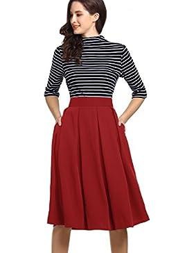 BeLuring Para Mujer Verano Midi Faldas Plisada Alta Cintura hasta la Rodilla Falda