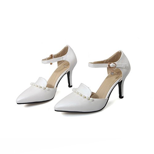 AgooLar Damen Pu Leder Rein Schnalle Spitz Zehe Hoher Absatz Pumps Schuhe Weiß