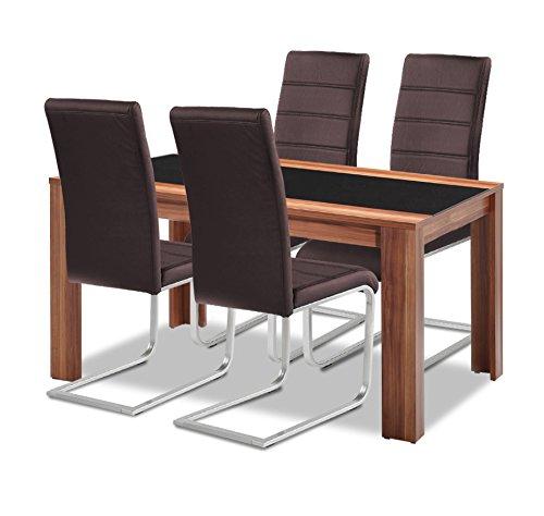 agionda Esstisch + Stuhlset : 1 x Esstisch Orlando + 4 Freischwinger braun -
