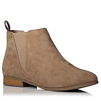 City Outlet Womens Ladies Faux Leather Suede Chelsea Ankle Boots Black Brown with Pull On Elasticated Tab Low Block Flat Heel & Rounded Toe School Work Size 3 4 5 6 6.5 7 8 9 (UK 4, Taupe Faux Suede)