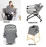QAQADU Multi-Purpose Breastfeeding Baby Cover, Black White Stripes