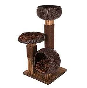 kratzbaum f r katzen aus holz mit gewebten k rben aus wasserhyazinthe gro artige. Black Bedroom Furniture Sets. Home Design Ideas