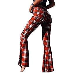 ShuangRun - Pantalones de Mujer Informales Acampanados con Estampado a Cuadros Rojo Rosso S