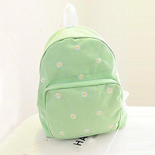 kingko® Les femmes sac des filles de l'école brodé couleur unie Daisies Toile Sac à dos Sac à bandoulière vert clair