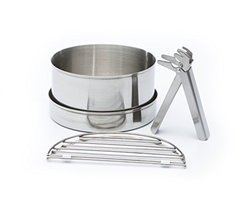Camping Cook Set (Stainless Steel) – LARGE for 'Base Camp' & 'Scout' Kelly Kettles®. (Includes a 0.85 ltr Pot, Pan/lid, 2 no. Grill pieces, Gripper handle) Packs inside the base of the kettle for transport. Turn your Kettle into a lightweight wood burning