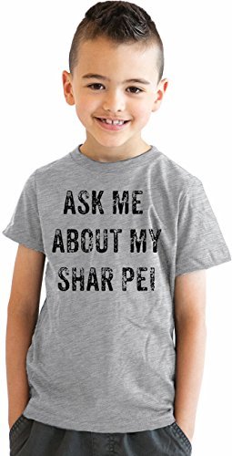 Crazy Dog TShirts - Youth Ask Me About My Shar Pei Funny Pet Dog Lover Flip Up T shirt (Grey) M - jungen - M