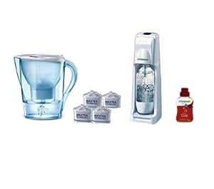 Brita 1010128 Lot 1 Carafe + 1 Machine à Gazéifier l'eau + 1 Pack 3 Cartouches + 1 Cola Chrome