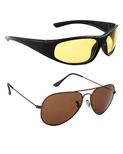 Allen Cate Combo of Night Vision & Dark Brown Aviator Sunglasses