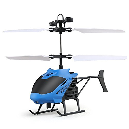 Lishy New Flying Mini RC Infraed Induction Helicopter Aircraft Remote Control Flashing Light Toys For Kids and Adults (Blue)