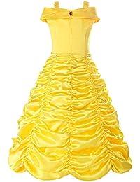 ReliBeauty – Fille – Robe de Princesse avec Bretelles Déguisement Cosplay Jupe ruché Tenue de Conte de fée pour Enfant Boucle Amovible