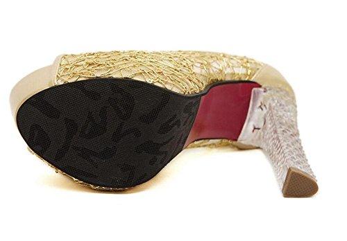 SHINIK Femme Peep Toe Pumps Sandales à talons hauts en cristal à talons hauts Sandales à talons étanches Chaussures à rayures Chaussures à chaussures Noir Argent Or Gold