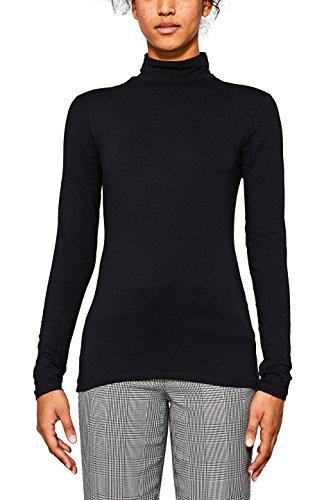 edc by ESPRIT Damen Langarmshirt 107CC1K042 Schwarz (Black 001), X-Large (Rollkragen-shirt)