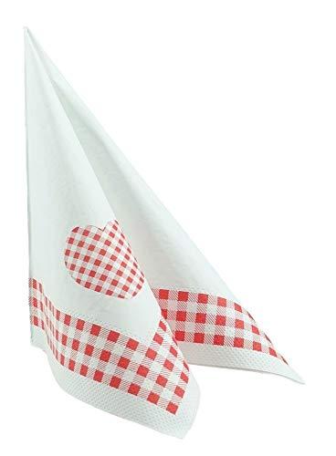 100 SERVIETTEN rot-weiß kariert 33x33 cm Tissue - Design LANDHAUS rot