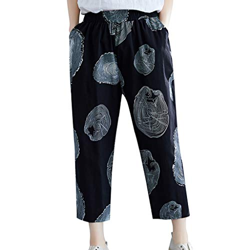 WOZOW Haremshose Pumphose Freizeithose Stoffhose Damen Casual Spider Net Print Muster Bedrucktes Druck Lang Long Bloomers Lose Hippie High Waist Mode Cool Yoga Crop Trousers (XL,Schwarz)