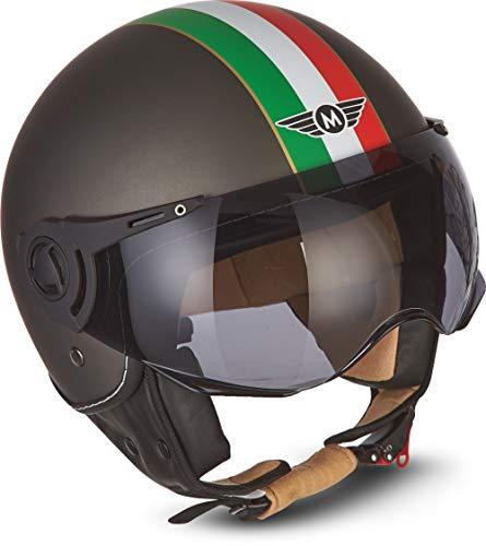 Moto Helmets®, H44, 'Camouflage', Casco jet da moto, vintage, visiera ECE, a sgancio rapido, XS - XL, 53 - 62 cm,