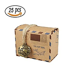 25pcs cajas de dulces cajas de regalo, bestga DIY papel Kraft Retro Post Mail estilo boda Favor cajas de regalo Navidad Cookie Treat Goody Bolsas de cajas de papel para Navidad, cumpleaños, vacaciones, día de Acción de Gracias–mapa