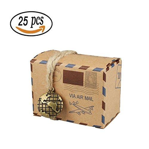 25PCS Candy Geschenk Kästchen, bestga DIY Kraft Retro Post Mail Stil Hochzeit Party Favor Geschenkboxen Weihnachts Cookie Treat Goody Boxen Papier-Staubsaugerbeutel für Weihnachten, Geburtstag, Urlaub, - Halloween-geburtstags-party Food-ideen