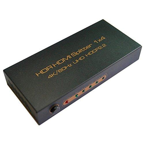 huierav HDMI 2.0HDMI Splitter 1x 4| Ultra HD 4K @ 60Hz Auflösung | unterstützt YCbCr-8Bit 4: 4: 4, 10Bit 4: 2: 2, 12bit 4: 2: 0| 4Kx2K @ 60Hz/1080p/3d| 1HDMI 2.0A, 24AWG, 1,5m Kabel im Lieferumfang enthalten als Geschenk Tiefe Nur Wandler