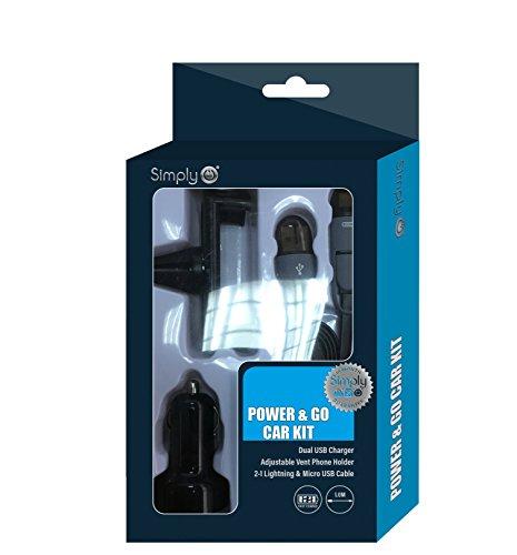 Einfach PH007Universal Power und Go Car Kit, 2.1blitzschnelle Ladekabel, 2Grip Einstellungen verstellbares Vent Halterung, Micro-USB-Kabel 1,0m lang Iphone Micro Grip
