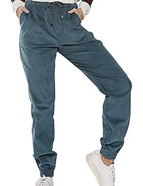 Fräulein Fox Mujeres Cintura Alta Pantalón Moda Pana Pantalones con Cordón Casual Largo Pants
