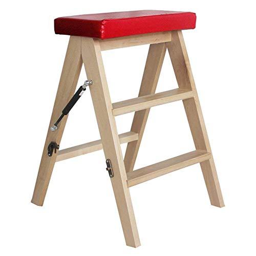 QIANCHENG-Ladder Klappstufen Leiter Multifunktions Massivholz Zuhause Küche Tragbarer Aufsteigender Hocker Mit 3 Stufen,3 Farben,63 cm Hoch,Wood (3 Regal Bücherregal Birke)