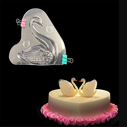 3D Swan Form Polycarbonat Schokolade Form, DIY handgefertigt Konfekt Candy Form Zucker Paste Mousse Form Backen Pfanne Bakeware Tablett Kuchen dekorieren Tools Schokolade Backform backen Supplies (Polycarbonat-schokoladenformen)