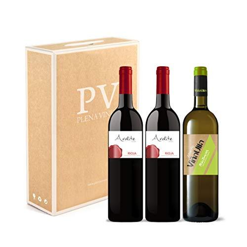 Tinto Rioja Crianza 100% Tempranillo/vino Blanco Rías Baixas 100% Albariño Gallego Dulce Afrutado. Estuche 3 Botellas (2 Ardite Rioja + 1 Viñaulla Rias Baixas). Excelente Pack Mixto