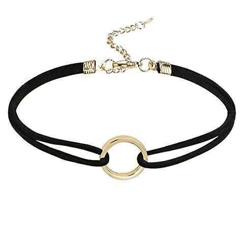 Gnzoe Women Choker Chain Adjutable, Velvet O-Ring Shape Pendant Gothic Collar Gold Black with Zircon, 31.5+8.3 CM