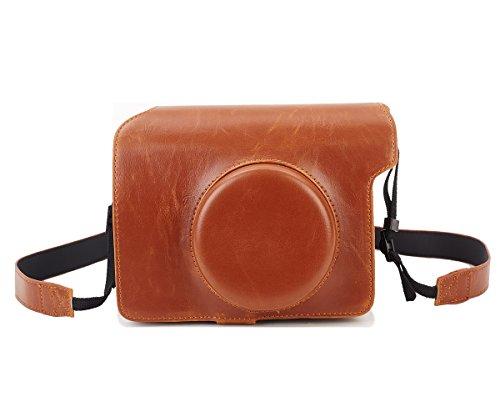 Galleria fotografica Fujifilm Instax Wide 300 Custodia, Leebotree Protettiva in Pelle Soft PU con Cinturino a Spalla per Fujifilm Instax Wide 300 Fotocamera Istantanea (Marrone)