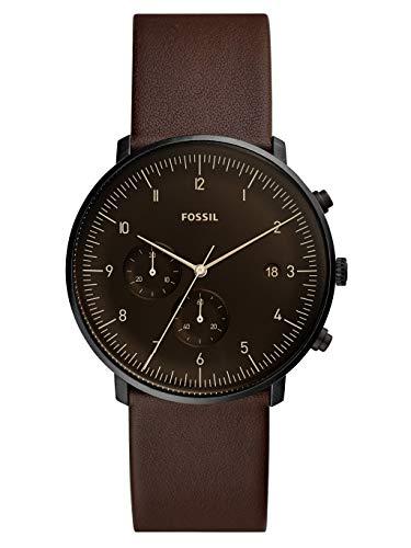 Fossil Herren Chronograph Quarz Uhr mit Leder Armband FS5485