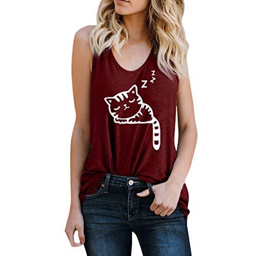 OSYARD Damen Mädchen Mode Bluse mit Katze Drucken Lässige Tank Top ärmelloses Weste O-Ausschnitt Sweatshirt Freizeit T-Shirt (Für Hello Kitty Mädchen Sweatshirt)