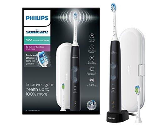 Philips 5100 Series HX6850/10 Elektrische Zahnbürste für Erwachsene Schallzahnbürste Schwarz - elektrische Zahnbürste (integriert, 110-220 V, Li-Ion-Akku, Zustand, 1 Stück (s))