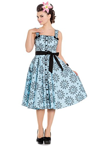 2615075801e42 Hell Bunny Kleid Sailor Girl 50'S Dress 4691 blau Blau L