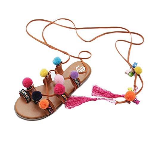 Gtyw summer lady bandage hairball clipping toe sandals flippers piatto romano da donna semplici sandali etnici,khaki-40
