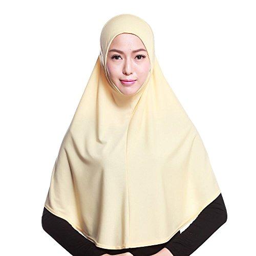 Muslim Damen Strecken Turban Hut Hals Chemo Kappe Haar Kopftuch Islamischen Abaya Dubai Frauen Elegante Gesichtsschleier Hidschab Schal Ramadan Kopfbedeckung Hijab (Khaki) Formale Schal