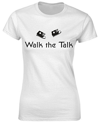 Walk The Talk Shoes Funnu Slogan Walking Women T Shirt Birthday Christmas - White, Light Pink, Grey Colour Ladies Tshirt (Tee Talk Sleeve Short)