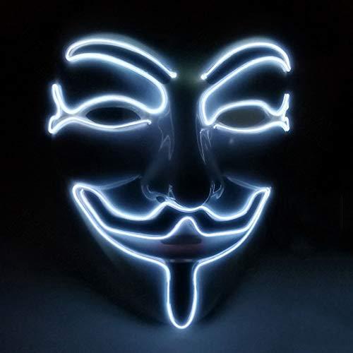 Für Halloween Kostüm Cosplay Party LED Maske V Vendetta Maske EL Draht Leuchten,Weiß